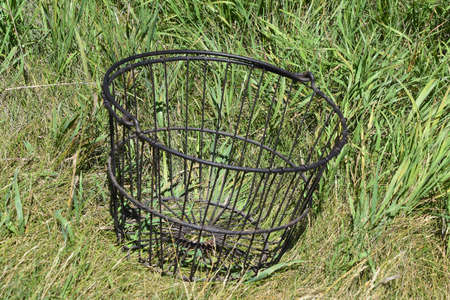 An old wire basket setting in the grass was used for collecting eggs in  the hen house.