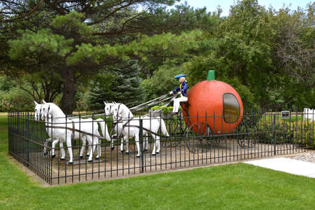 ABERDEEN, SOUTH DAKOTA, August 7, 2020: Storybook Land or Land of Oz features a PETER PETER PUMPKIN EATER display at the  childrens park located at Wylie Park in Aberdeen, SD. Editorial