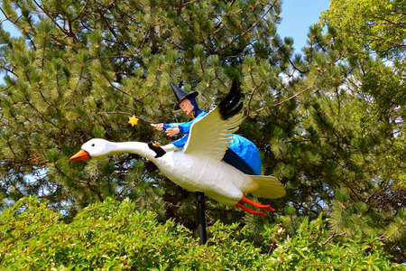 ABERDEEN, SOUTH DAKOTA, August 7, 2020: Flying Mother Goose is displayed at the Land Of Oz(Storybook Land) sponsored by The Sertoma Club and the Aberdeen Parks, Recreation and Forestry Department. Editorial