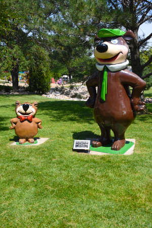 ABERDEEN, SOUTH DAKOTA, August 7, 2020: Yogi Berra and Boo Boo are displayed at the Land Of Oz(Storybook Land) sponsored by The Sertoma Club and the Aberdeen Parks, Recreation and Forestry Department. Editorial