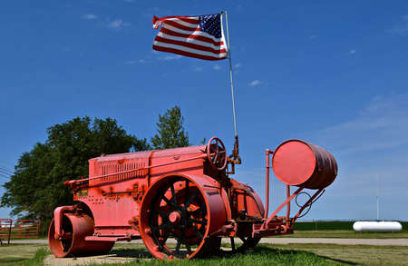 RURAL, NORTH DAKOTA, August 7, 2020: Buffalo-Springfield was an American manufacturer of Steam rollers was created in 1916 by the merger of Buffalo Pitts of New York and Kelly Springfield of Ohio, USA