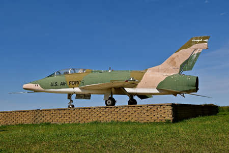 VERONA, NORTH DAKOTA, August 7, 2020: The North American F-100 Super Sabre is an American supersonic jet fighter aircraft that served with the United States Air Force (USAF) from 1954 to 1971 Editorial