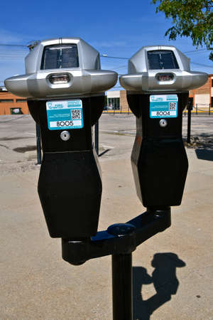 SOUIX FALLS, SOUTH DAKOTA, August 14, 2020: The parking meters parking machines are a product from Geneva, Switzerland created in 1986 called Park Smarter.