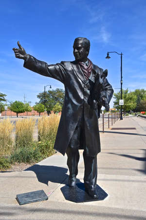 RAPID CITY, SOUTH DAKOTA, August 14, 2020. The statue is President George W. Bush, located in downtown Rapid City and  is one of may statues lining the street as the city honors former Presidents