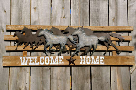 Wall art displaying running horses as a welcome home to the ranch