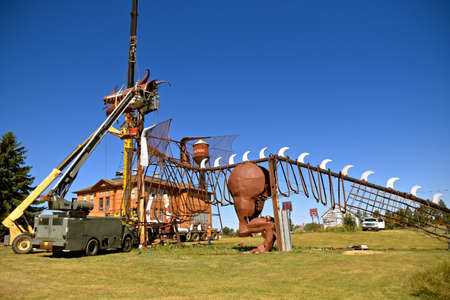 REGENT, NORTH DAKOTA, August 16, 2020: The massive dragon is under construction at the site of the enchanted Castle of Regent is located at the end of the Enchanted Highway.