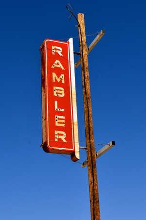 MARICOPA, ARIZONA, February 26, 2021. The old Rambler sign is a car which was sold through the American Motor Corporation (AMC) from 1958-1969,
