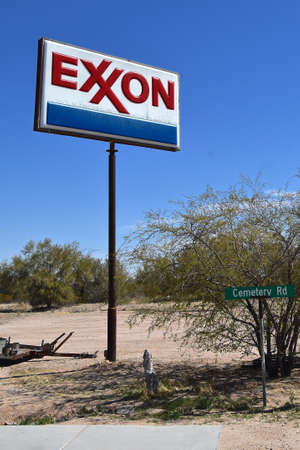MARICOPA, ARIZONA, February 26, 20221:  BISMARCK, NORTH DAKOTA, Aug 1, 2020: The Exxon logo represents Exxon Mobil Corporation, doing business as ExxonMobil, is an American multinational oil and gas c