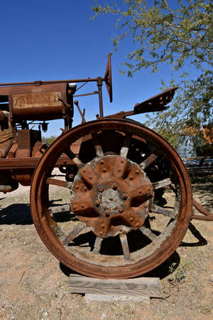 MARICOPA, ARIZONA, February 26, 2021: The old F-12 tractor is a Farmall, a model name and later a brand name for tractors manufactured by the American company International Harvester (IH)