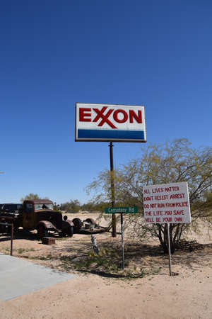 MARICOPA, ARIZONA, February 26, 20221: BISMARCK, NORTH DAKOTA, Aug 1, 2020: The Exxon logo represents Exxon Mobil Corporation, doing business as ExxonMobil, is an American multinational oil and gas co