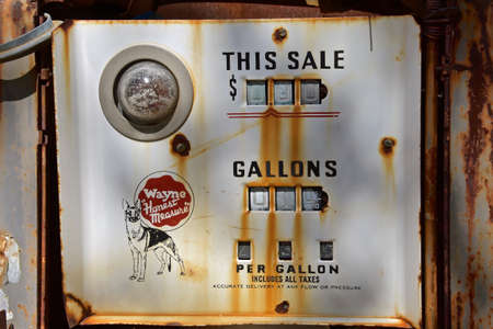 MARICOPA, ARIZONA, February 26, 2021.  The old gas pump was originated in 1910 in Fort Wayne, Indiana allowing user to see amount of fuel being pumped. Editorial