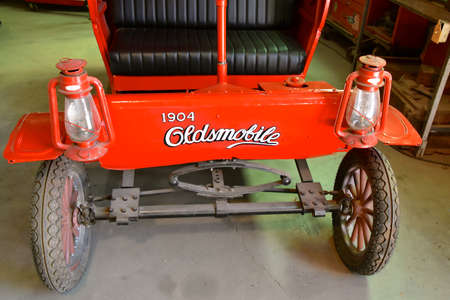 MARICOPA, ARIZONA, February 26, 2021: The miniature reproduction of a 1904 Oldsmobile was a brand of automobiles produced by General Motors. Editorial