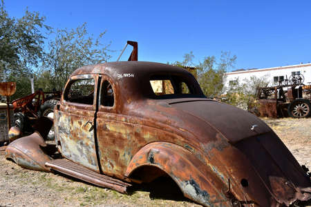 MARICOPA, ARIZONA, February 26, 2021:  The old 1934 car  frame is a Nash, from Nash Motors Company, an American automobile manufacturer from Kenosha, Wisconsin from 1916 to 1937. Editorial