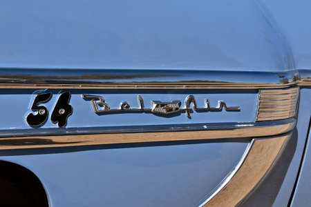 MARICOPA, ARIZONA, March 26, 2021: The old Belair logo is on a 1954 Chevrolet, colloquially referred to as Chevy and formally the Chevrolet Division of General Motors Company, is an American automobil