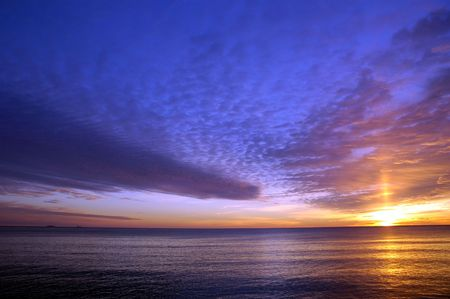 Beautiful winter sunrise over the atlantic ocean at Hampton Beach, NH Stock Photo