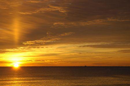 Beautiful winter sunrise over the atlantic ocean at Hampton Beach, NH Stock Photo