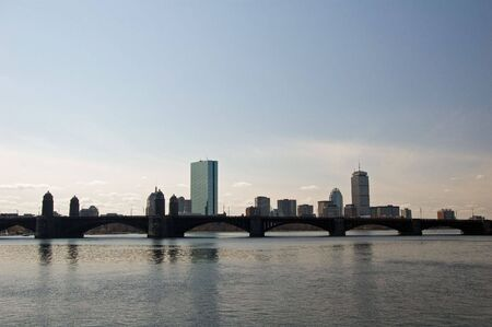 Boston City Skyline from Cambridge on the Charles River Stock Photo