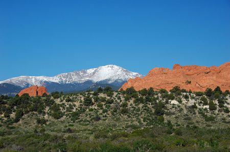 Pike's Peak et la Kissing Camels au Garden of the Gods, Colorado Springs, CO