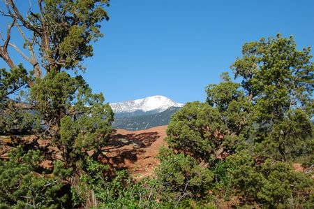 Pikes Peak from the Garden of the Gods, Colorado Springs, CO Stock Photo