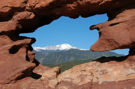 rock formation: Pikes Peak naturally framed at the Garden of the Gods, Colorado Springs, CO Stock Photo