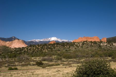 Pikes Peak and the Kissing Camels at the Garden of the Gods, Colorado Springs, CO Stock Photo