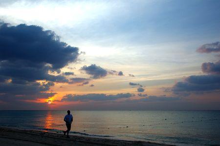 Jogger matin sur la Riviera Maya, Mexique Banque d'images