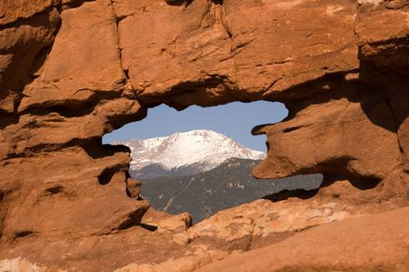 Pikes Peak naturally framed in the Siamese Twins Rock Formation