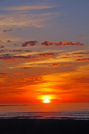 Beautiful summer sunrise at Hampton Beach, NH photo