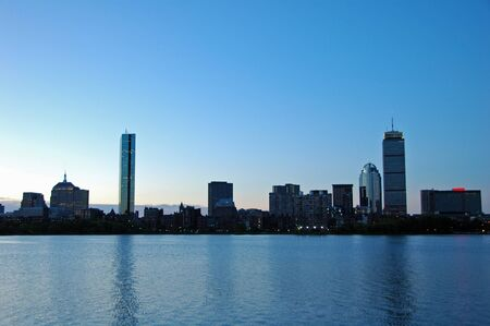 City Skyline of Boston, MA from the BU Boat House in Cambridge