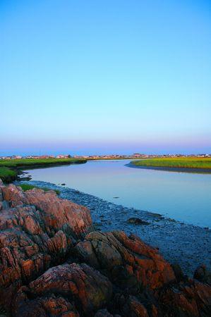 Hampton, NH Taylor River Protected FreshSalt Water Marsh Stock Photo