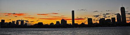 Boston Skyline Lever du soleil sur la Charles River, Cambridge, MA