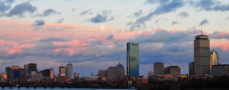Boston Skyline at Sunset from BU Bridge on the Charles River, CambridgeBoston, MA Stock Photo