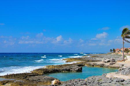 the silence of the world: Mayan Riviera Coastline Stock Photo