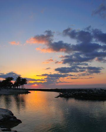 Lever du soleil le long de la Riviera Maya # 1 Banque d'images