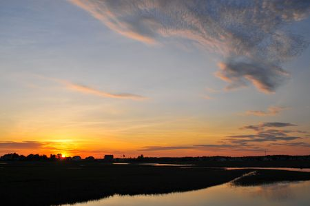 Sunset on the Hampton, NH Wetlands Imagens