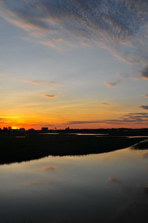 Sunset on the Hampton, NH Wetlands Stock Photo - 4092768