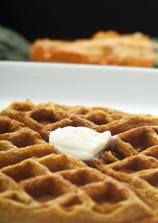 Golden pumpkin waffle with butter on white plate photo