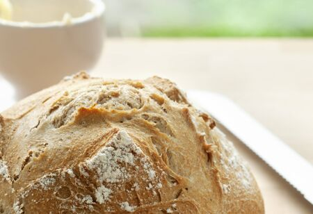 french bread boule: Golden crusty French bread fresh out of the oven