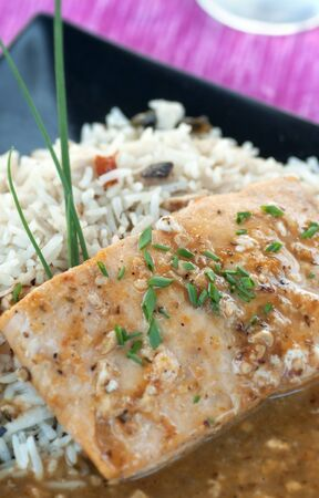 Fresh salmon with Thai jasmine rice and spicy sauce photo