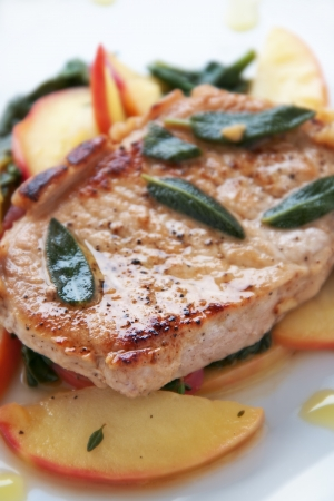 sautee: Golden pork chop with warm apple and green salad