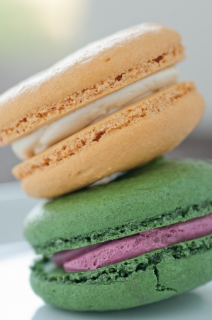 Colorful freshly baked macaroons with cream filling photo