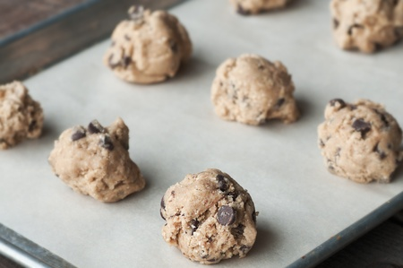 Cookie dough drops ready for the oven
