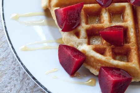 hone: Golden round waffle with hone and fresh pluots