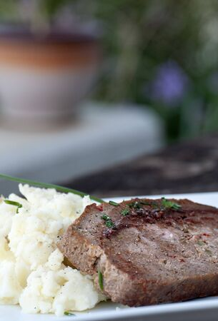 Slice of homemade meat loaf with mashed potatoes and wine sauce Stock Photo - 17654647
