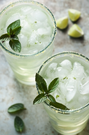 Ice cold beverage with lime and mint Stock fotó