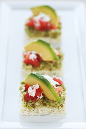 olive green: Bite size appetizers with green olive tapenade