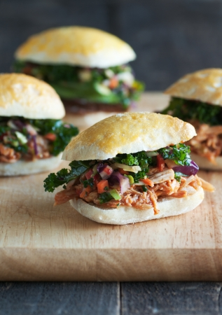 sliders: Mini appetizer sandwiches with pulled meat and vegetable slaw