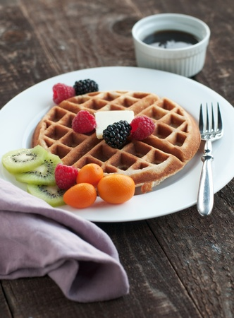 Golden waffle from scratch with fresh fruit