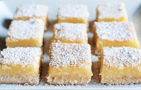 Fresh baked Meyer lemon bars with powdered sugar