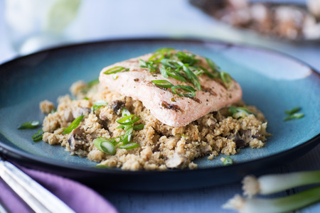 Salmon with Cauliflower rice with miso ginger sauce